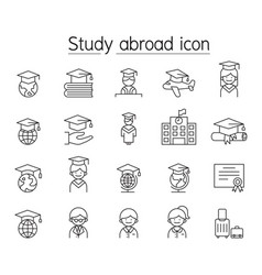 Study abroad icon set in thin line style vector