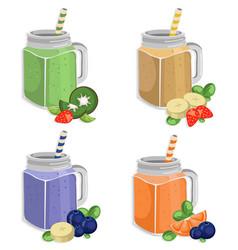 summer fruits smoothie set fresh drink vector image