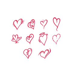 Thin line heart icon set vector