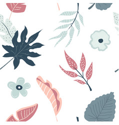 tropical seamless pattern with flowers and leaves vector image