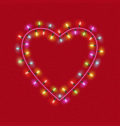 valentines day glowing lights heart on textured vector image