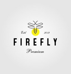Vintage line art firefly logo icon design vector