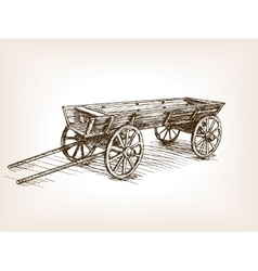 Vintage wooden cart hand drawn sketch vector image