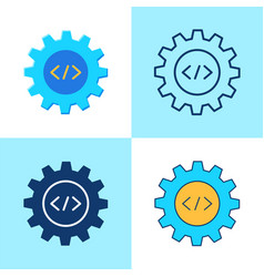 web development icon set in flat and line style vector image