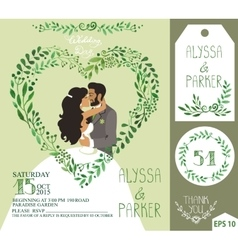 Wedding invitationGreen branches heart kissing vector