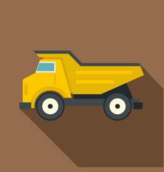 yellow dump truck icon flat style vector image