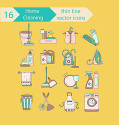 house cleaning color thin line icon set vector image vector image
