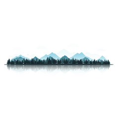 landscape with silhouettes of deer fox eagles vector image