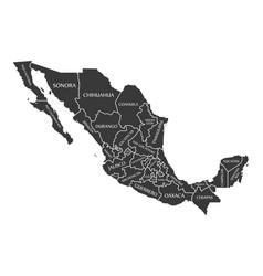 mexico map labelled black vector image