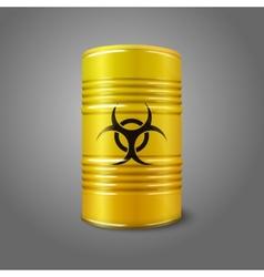 Realistic bright yellow big barrel with bio hazard vector image