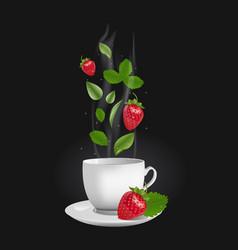 realistic strawberry tea vector image