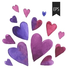 Set of purple watercolor hearts vector image vector image