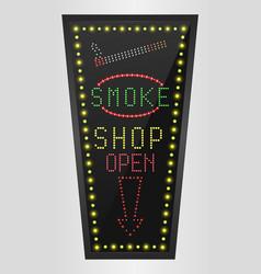 Shining retro light banner smoke shopping vector