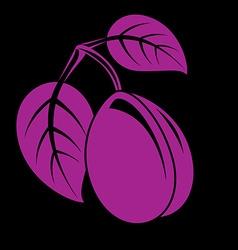 Single purple simple plum with leaves ripe sweet vector image vector image