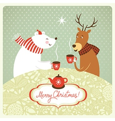 deer and bear drink hot tea vector image vector image