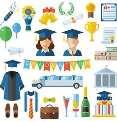 Graduation Celebrating Concept Icon Set vector image