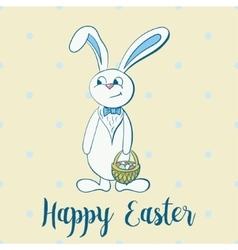 Happy easter poster rabbit boy keeps egg bascet vector