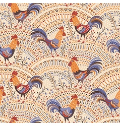 roosters pattern beige vector image vector image