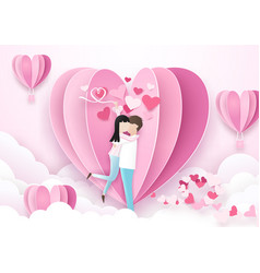 Valentines day background couple standing kiss vector