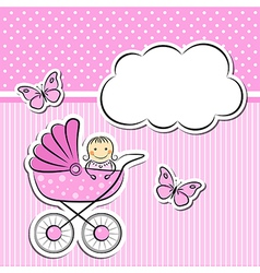 Baby girl arrival announcement vector image vector image