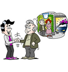 cartoon of a old man there have buy a new auto car vector image