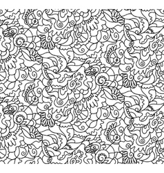 Nature seamless pattern zen-tagle style vector