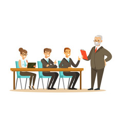 senior boss explaining to young colleagues vector image
