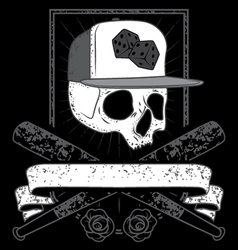 skull with cap vector image vector image