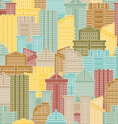 Urban seamless pattern Colorful buildings in city vector image