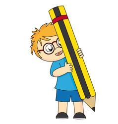 boy pencill vector image