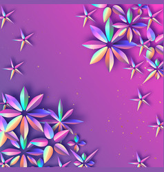 bright holographic flowers happy womens day vector image vector image