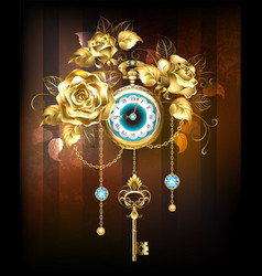 clock with gold roses vector image