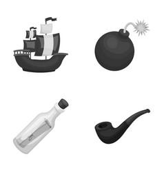 pirate bandit ship sail pirates set collection vector image vector image