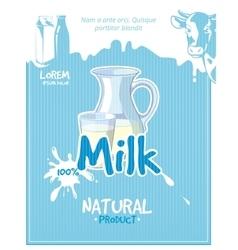 Vintage milk poster vector image