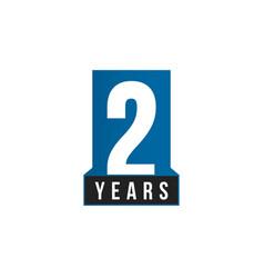 2 years icon birthday logo template vector image