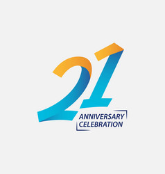 21 year anniversary celebration template design vector