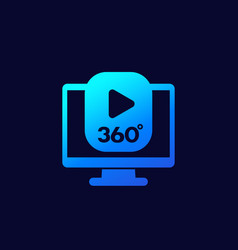360 degrees video content icon for web vector