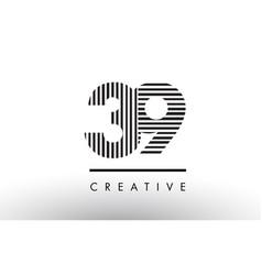 39 black and white lines number logo design vector