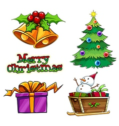 A group of christmas decors vector image