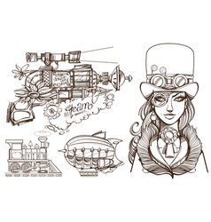 A woman in an old hat and a steampunk gun vector