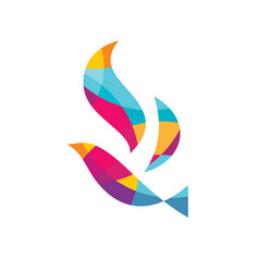 Abstract colored bird logo template vector