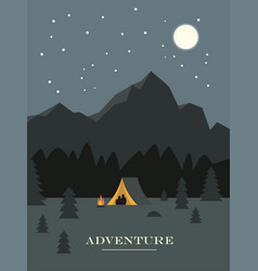 Adventure and travel banner night camping vector