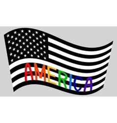 American flag waving with word America vector