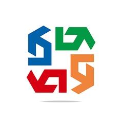 Arrow symbol hexa connecting icon el vector