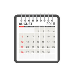 August 2018 calendar calendar notebook page vector