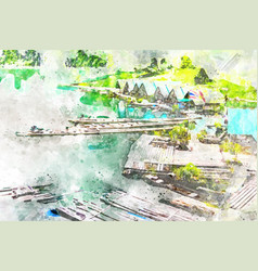 Bamboo rafting in dam with watercolor art vector