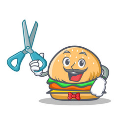 barber burger character fast food vector image