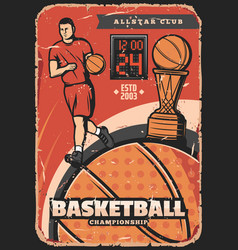 basketball vintage poster player with ball vector image