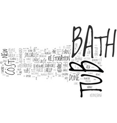 Bathtub repairs faq text word cloud concept vector