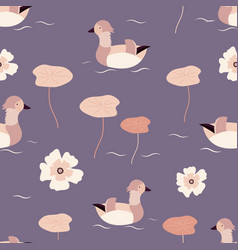 beach tropical seamless pattern with mandarin duck vector image